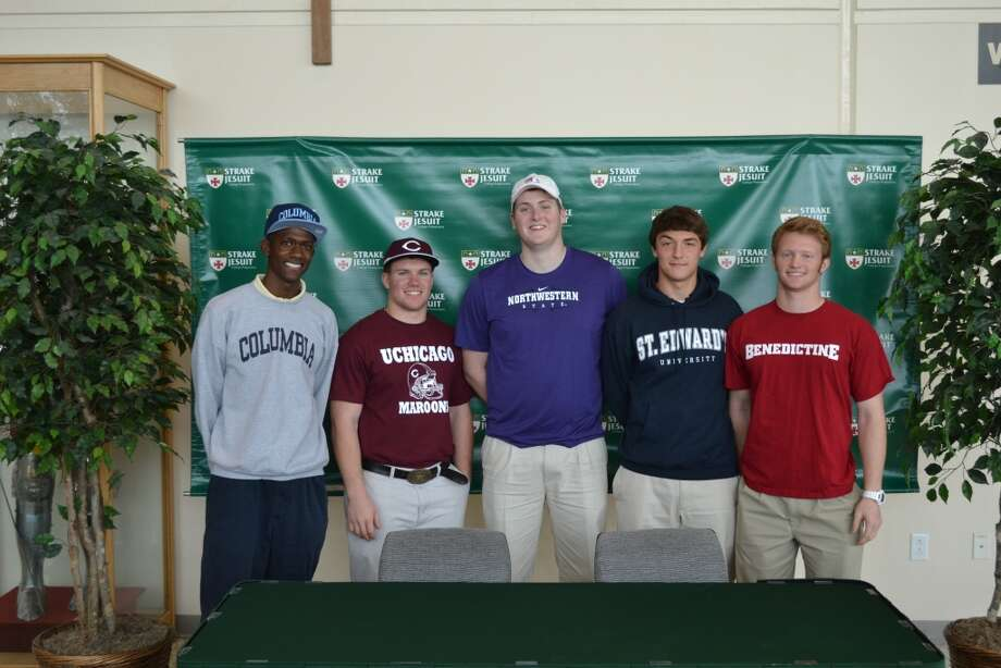 Strake Jesuit had several students sign letters of intent to play college sports, including Chance Griffin, track, Columbia University; Nick Pielich, football, the University of Chicago; Pace Murphy, football, Northwestern State University; Kyle Ruck, soccer, St. Edwards University; and Jordan Underwood, football, Benedictine College. Photo: Handout Photo