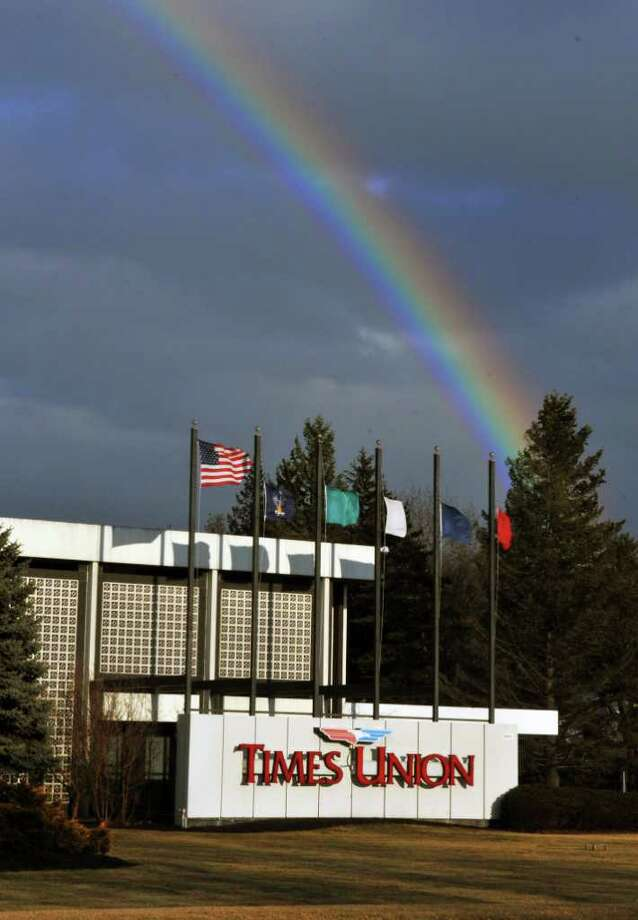 A rainbow over the Times Union building in Colonie Wednesday Feb. 1, 2012.   (John Carl D'Annibale / Times Union) Photo: John Carl D'Annibale / 00016302A