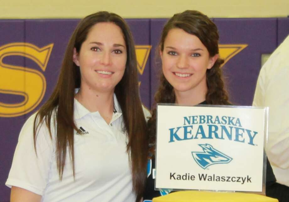 Jersey Village High's Kadie Walaszczyk, pictured with her coach Christie Mestayer, has signed a letter of intent to play soccer at the University of Nebraska-Kearney. Photo: Handout Photo