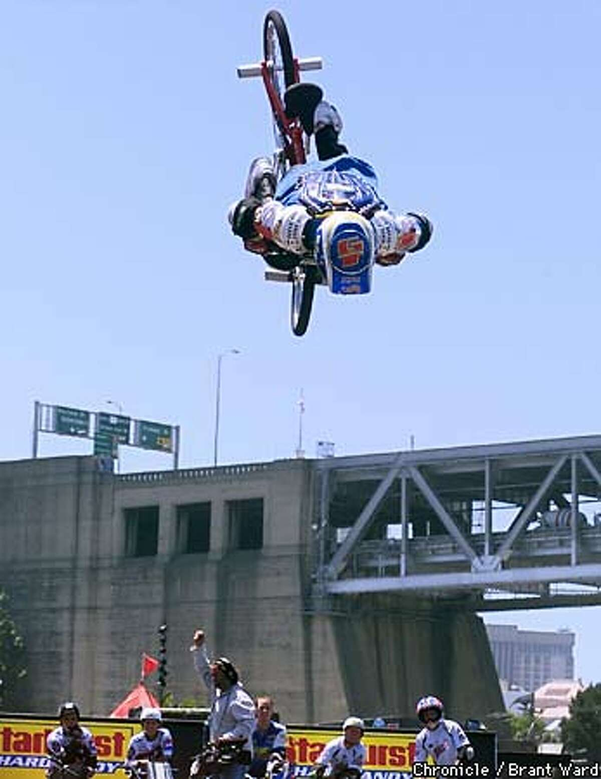 Dave Voelker of Lakeside California placed well in the preliminary Street Bicycle Stunt competitio n held Friday at the X-Games being held at Pier 30 and 32. Chronicle Photo by Brant Ward