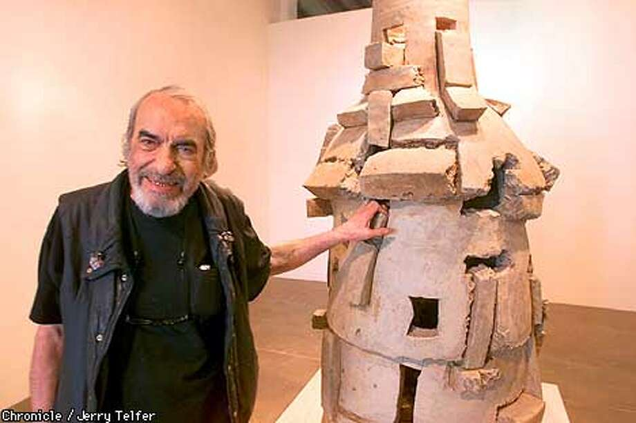"""Ceramic sculptor Peter Voulkos with some recent work being shown at Braunstein-Quay Gallery. This piece is titled """"Anasazi,"""" after the mysterious cliff dwellers of the Southwest.  430 Clementina  CHRONICLE STAFF PHOTO BY JERRY TELFER Photo: JERRY TELFER"""