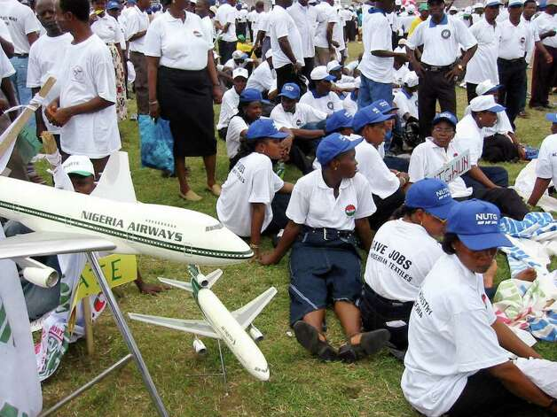 Debt also brought down government-owned Nigeria Airways. Here, employees protest the government's plan to liquidate the airline at Lagos Onikan Stadium in 2003. Photo: PIUS UTOMI EKPEI, AFP/Getty Images / 2003 AFP