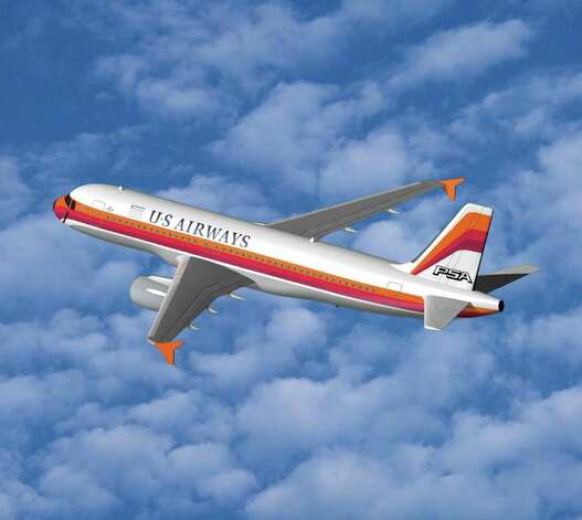After the US Airways-America West merger, the new company unveiled a series of planes decorated with the themes of previous merger partners. Here's one commemorating Pacific Southwest Airlines. Photo: Handout, Getty Images / 2005 Getty Images
