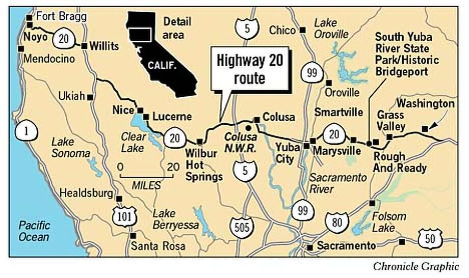 Highway 20 Route. Chronicle Graphic