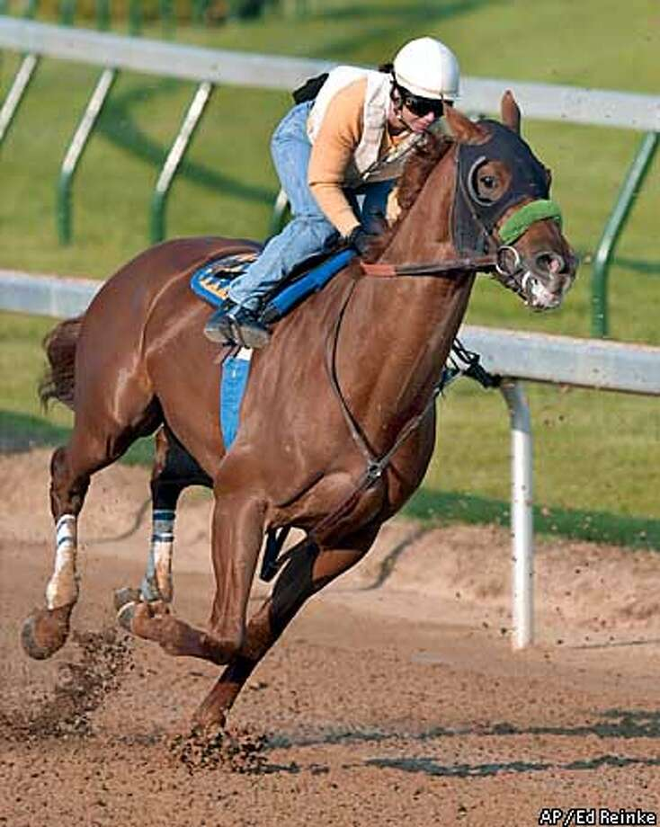 hopeful Point Given works out on the Churchill Downs track with exercise rider Dana Barnes in the saddle Monday morning, April 30, 2001, in Louisville, Ky. Point Given is trained by Bob Baffert. (AP Photo/Ed Reinke) Photo: ED REINKE