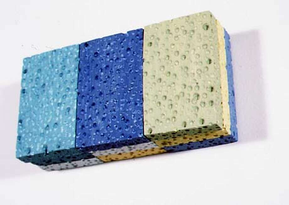ART12A/C/10JUN99/DD/HO  GEORGE STOLL  UNTITLED SPONGE PAINTING, 1999  BURNED BALSA AND ALKYD