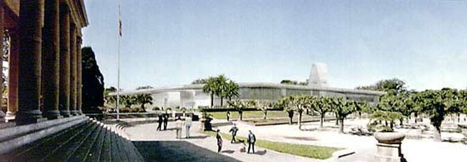 Artist's rendition of the new de Young Museum as it would appear from the Music Concorse in Golden Gate Park.