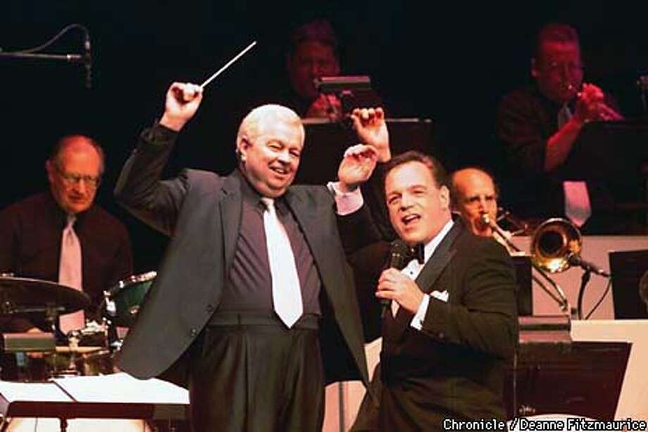 "SINATRA10B/C/08JUN99/DD/DF - Ron Hawkings performs ""His Way - A Tribute to a Man and His Music"" , a theatrical salute to Frank Sinatra at Theater on the Square. Behind him is conductor, Bill Rogers. CHRONICLE PHOTO BY DEANNE FITZMAURICE Photo: DEANNE FITZMAURICE"