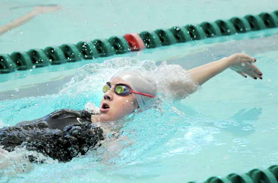 Annie Keeney of Convent of the Sacred Heart swim the backstroke leg of the 200 Medley relay event during girls high school swim meet between Convent of the Sacred Heart and Greenwich Academy at the Boys & Girls Club of Greenwich, Wednesday afternoon, Feb. 1, 2012. Photo: Bob Luckey / Greenwich Time