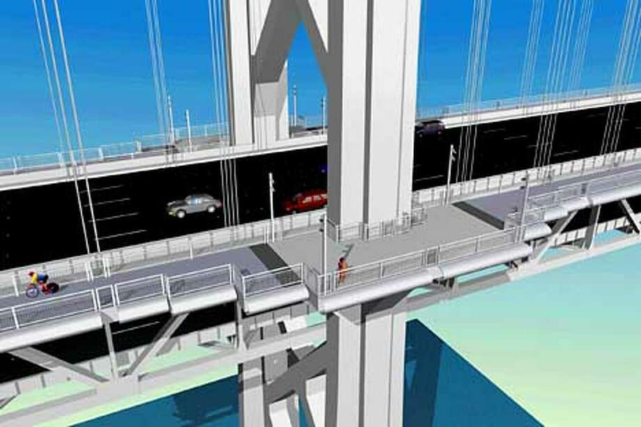 An artist's rendering shows a Caltrans plan for bike lanes outside the western span of the Bay Bridge, as on the Golden Gate Bridge.  Illustration courtesy Caltrans