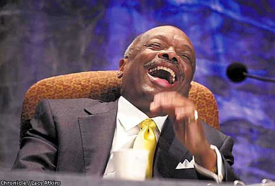 MAYORa-C-17APR01-MN-LA  Mayor Willie Brown enjoys a laugh regarding being a new father, at during the Fourth San Francisco Mayor's Summit For Women, at the Moscone Center, Tuesday April17,01.  Photo By Lacy Atkins/San Francisco Chronicle Photo: Lacy Atkins