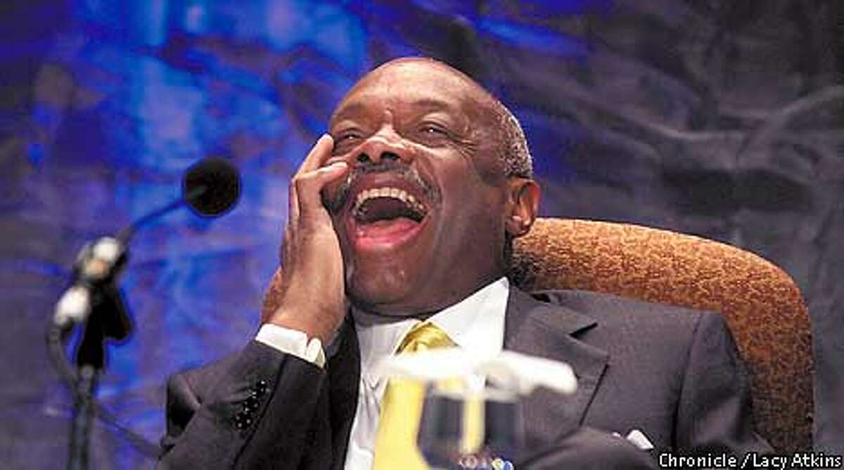 MAYORb-C-17APR01-MN-LA Mayor Willie Brown enjoys a laugh regarding being a new father, at during the Fourth San Francisco Mayor's Summit For Women, at the Moscone Center, Tuesday April17,01. Photo By Lacy Atkins/San Francisco Chronicle