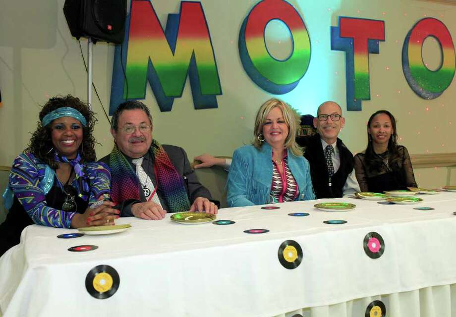"""Angela Woods, from the left, Robert Cuellar, Marsha Hendler, Robert """"Joe Rob"""" Robinson and Marian Catacalos judge the dance and constume contests at the Motown Party fundraiser for the Queen of Soul pageant at The Bright Shawl, Saturday, January 28, 2012. Photo: J. Michael Short , Special To The Express-News / The San Antonio Express-News"""