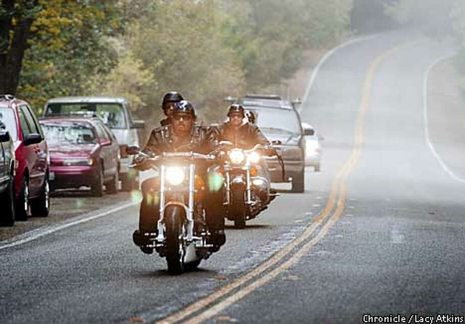 Motorcyclists cruise Highway 35 to gather at Alice's. The restaurant is the favorite haunt for those riding the twisting road. Chronicle photo by Lacy Atkins