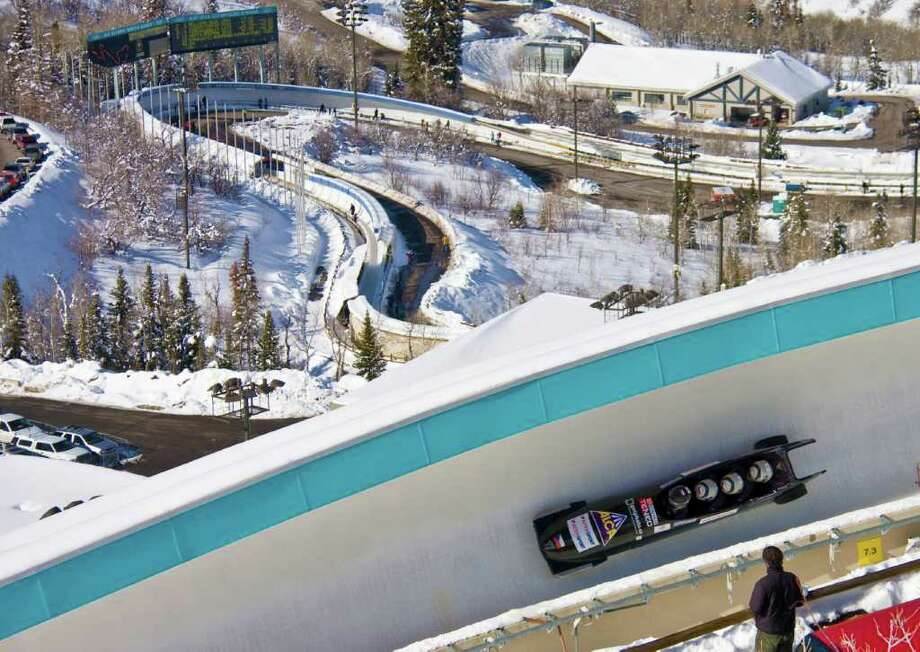 The bobsled ride at Utah Olympic Park allows visitors to reach speeds of 80 mph. Photo: Utah Olympic Park