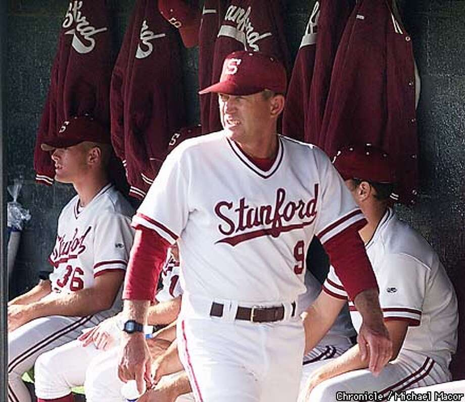 Stanford v. USC 1999 Super Regionals Game One of a best of three series.Stanford head coach Mark Marquess keeps a close watch on his team during warmups. by Michael Macor/The Chronicle Photo: MICHAEL MACOR