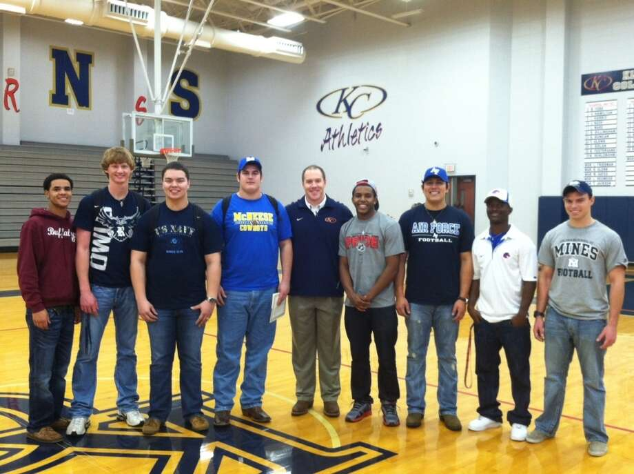 Students from Klein Collins High who signed letters of intent to play college football include Richard  Smith, West Texas A&M; Tyler  Stehling, Rice University; John  Craven, Naval Academy; Billy  Aubertin, McNeese State; Ryan  Santos, University of New Mexico; Roland  Leal, Air Force Academy; Shane  Williams-Rhodes, Boise State University; and Andrew  Everett, Colorado School of Mines.