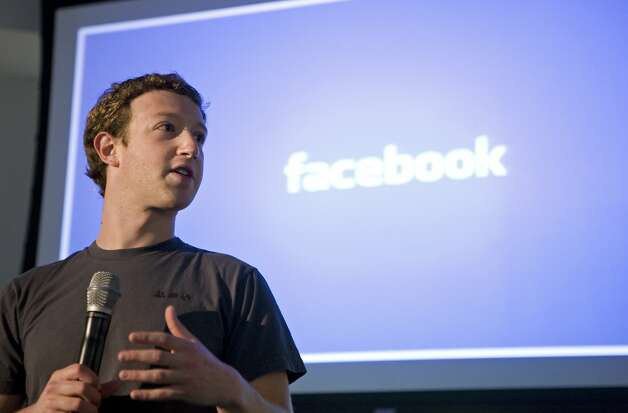 "Mark Zuckerberg, CEO of Facebook, makes an opening speech of the media event, ""behind the Scenes"" to show the latest technology powering Facebook at their headquarters in Palo Alto on April 7, 2011 in California. AFP Photo Kimihiro Hoshino (Photo credit should read KIMIHIRO HOSHINO/AFP/Getty Images) Photo: Kimihiro Hoshino, AFP/Getty Images"
