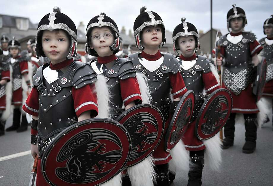 Can we pillage now? PLEEEASE?Young Vikings get ready to sack the city at the annual Up Helly Aa festival in Lerwick, Shetland Islands. Up Helly Aa celebrates the influence of the Scandinavian Vikings in the Shetlands. Photo: Andy Buchanan, AFP/Getty Images