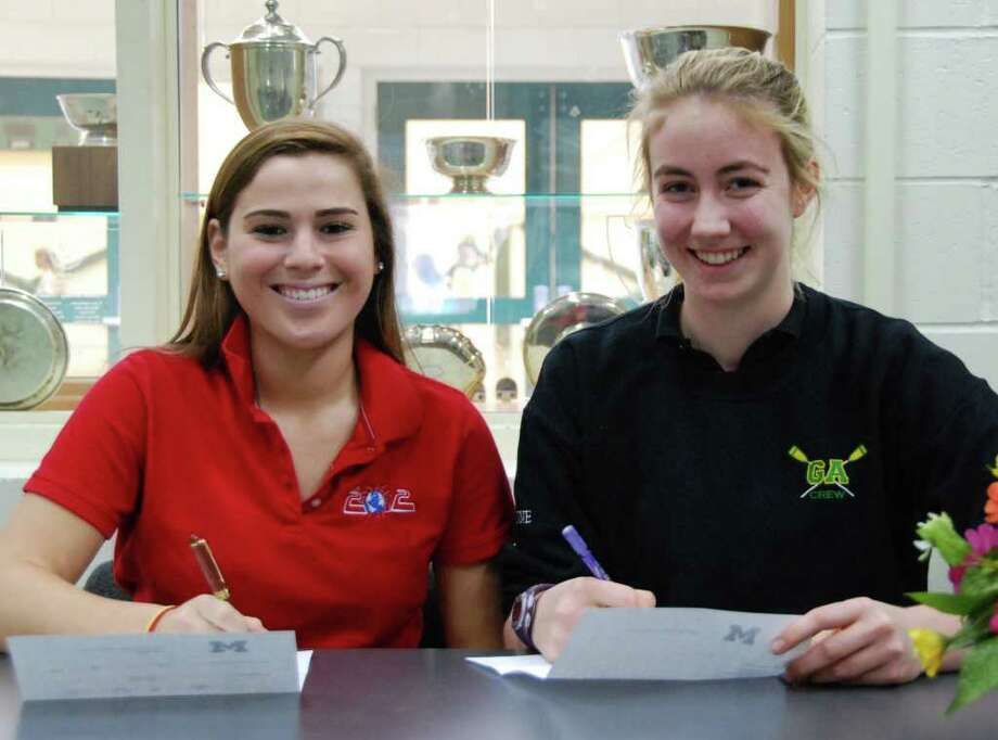 Greenwich Academy's Parker Procida signs her National Letter of Intent to play field hockey at Michigan. At right, GA's Mairead Dunne signs to row crew at Notre Dame. Photo: Greenwich Academy/Contributed Ph