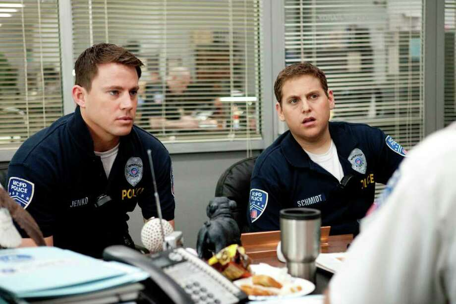 "In this image released by Columbia Pictures, Channing Tatum, left, and Jonah Hill are shown in a scene from the film ""21 Jump Street."" The film will premiere as the centerpiece of Austin's South by Southwest Film Conference and Festival. It will screen March 12 at SXSW, which runs March 9-17. Photo: AP"