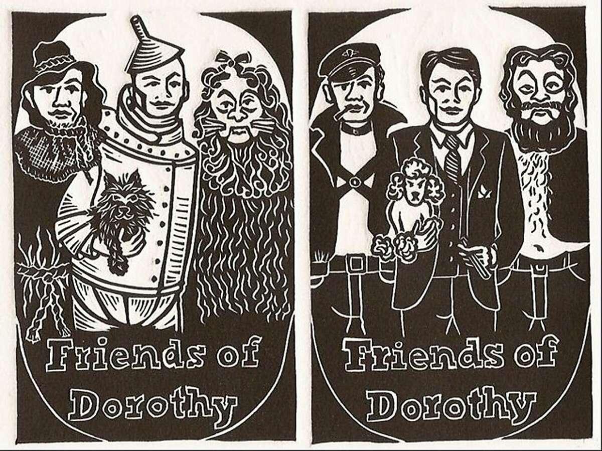 Katie Gilmartin, Friends of Dorothy (from Queer Words series), linoleum block print. Part of