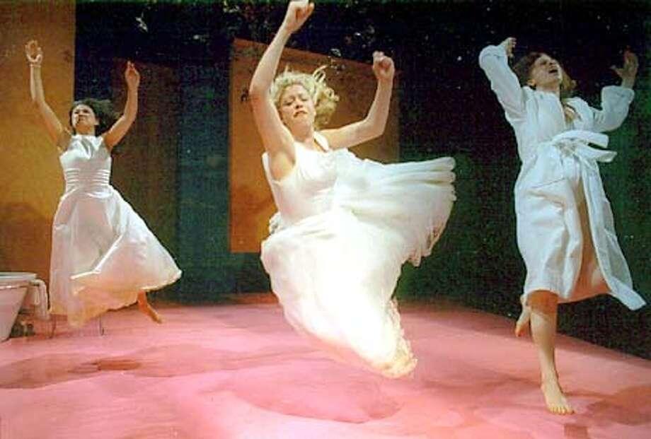 "Thyona (K.J. Sanchez, left), Olympia (Aimee Guillot) and Lydia (Carolyn Baeumler) flee marriage in ""Big Love"" at Berkeley Repertory Theatre."