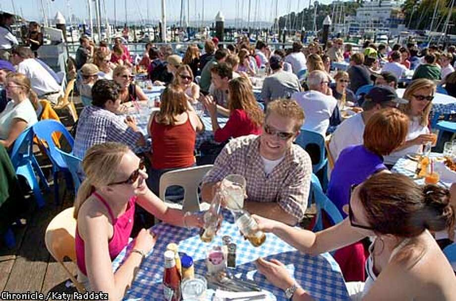 Sam's Anchor Cafe in Tiburon is a great place to take advantage of sunny weather. Chronicle photo by Katy Raddatz