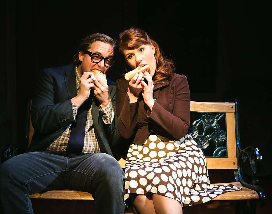 """Becky (Lauren English, right) gets dating tips from Andrew (Lee Dolson) in """"Becky Shaw"""" at SF Playhouse Photo: Jessica Palopoli"""