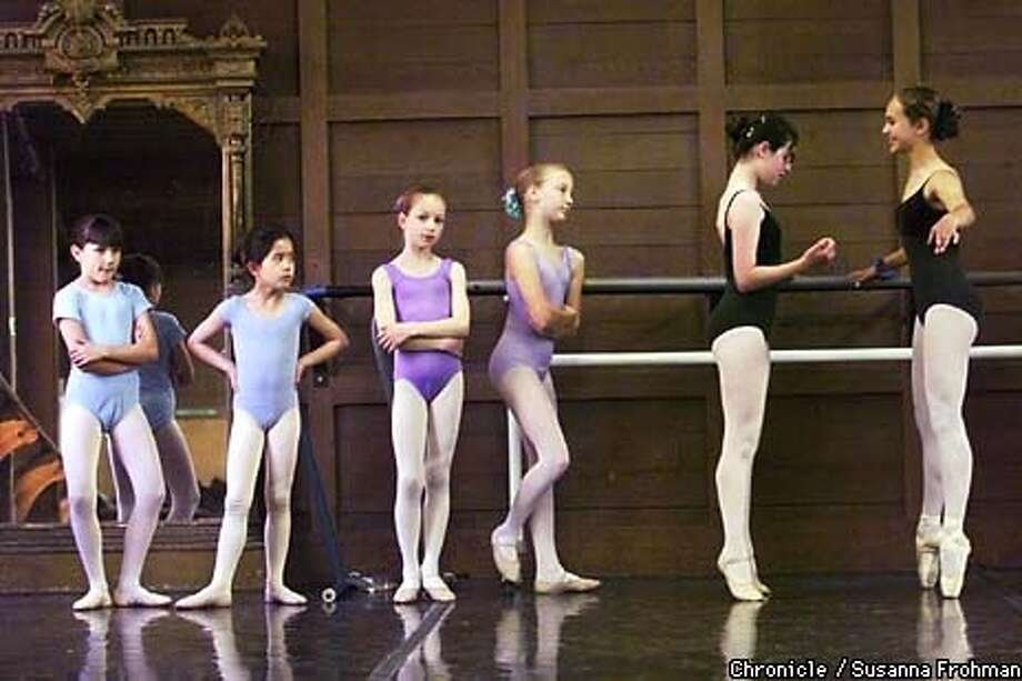 Dancers at the Berkeley Ballet Theater, which is located inside the Julia Morgan Center for the Arts in Berkeley, prepare for an upcoming Youth Ensemble Gala Performance. From left, are, Tessaly Jen, Valerie Balcom, Fennis Brown, Madeline Olson, Rebecca Morris and Sonja Dale. (CHRONICLE PHOTO BY SUSANNA FROHMAN) Photo: SUSANNA FROHMAN