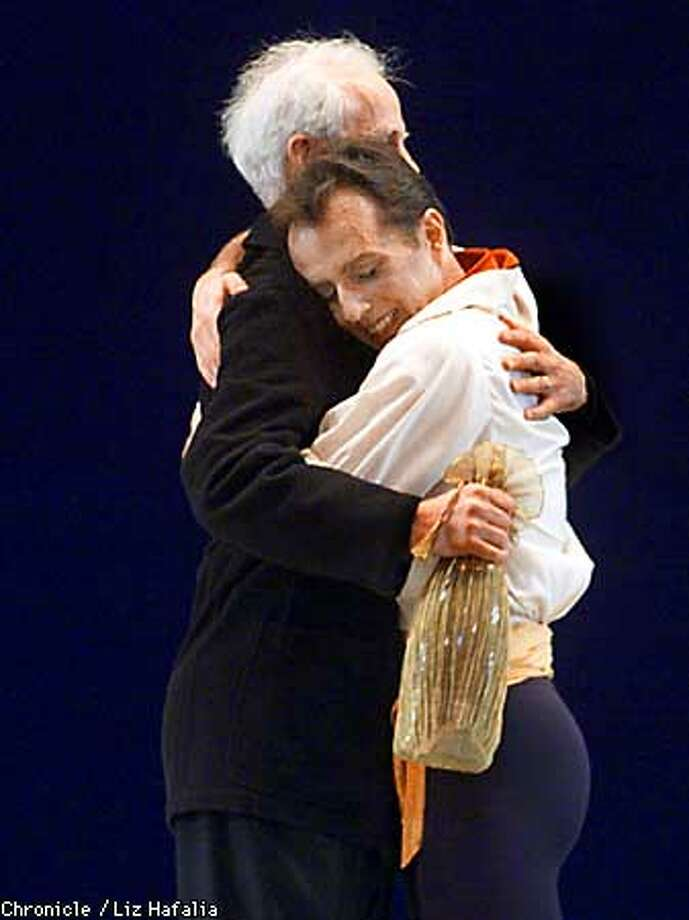 Cristopher Stowell bids a fond farewell to Helgi Tomasson after his last performance with the San Francisco Ballet.  (BY LIZ HAFALIA/THE SAN FRANCISCO CHRONICLE) Photo: LIZ HAFALIA
