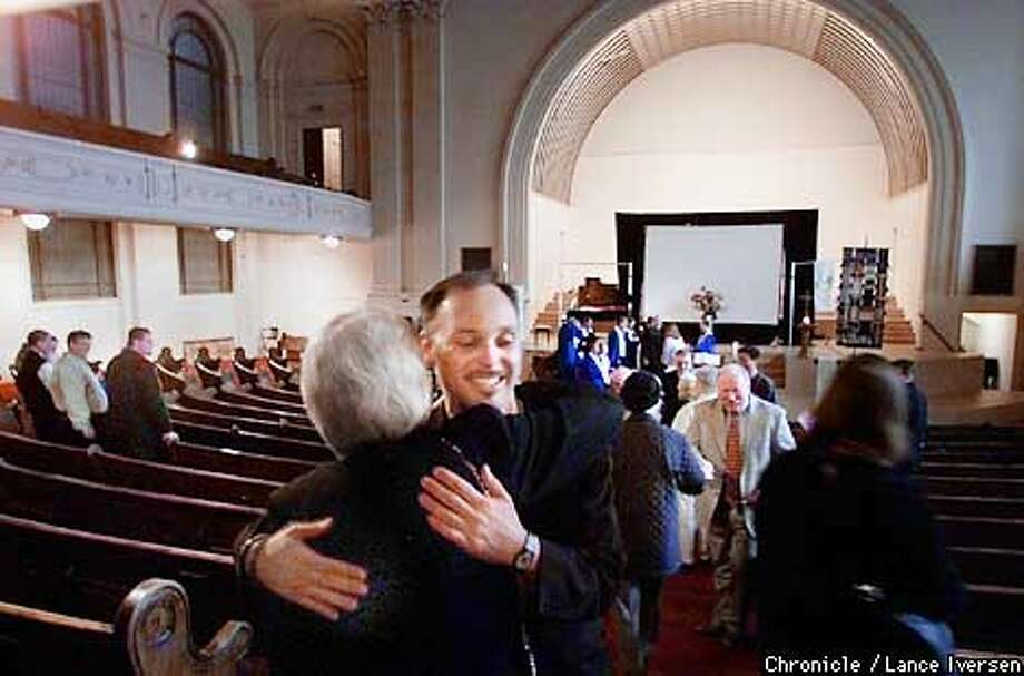 The San Francisco First Congregational Church at Post & Mason Streets will hold their last service next sunday. L to R parishoners Ruth Petersen is greeted by Michael Dehlinger with a hug sunday morning. By LANCE IVERSEN/SAN FRANCISCO CHRONICLE Photo: LANCE IVERSEN