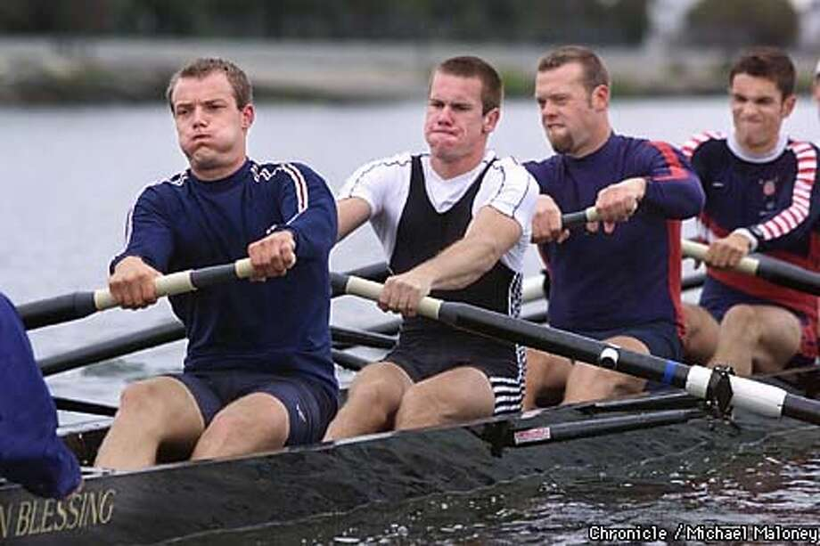 Cal men's varsity crew team is expected to win a national title. They practice early mornings at the Oakland estuary near the airport.  From left : Nito Simonsen, Luke Walton, Sture Bjorvig and Sebastion Bea.  CHRONICLE PHOTO BY MICHAEL MALONEY Photo: MICHAEL MALONEY