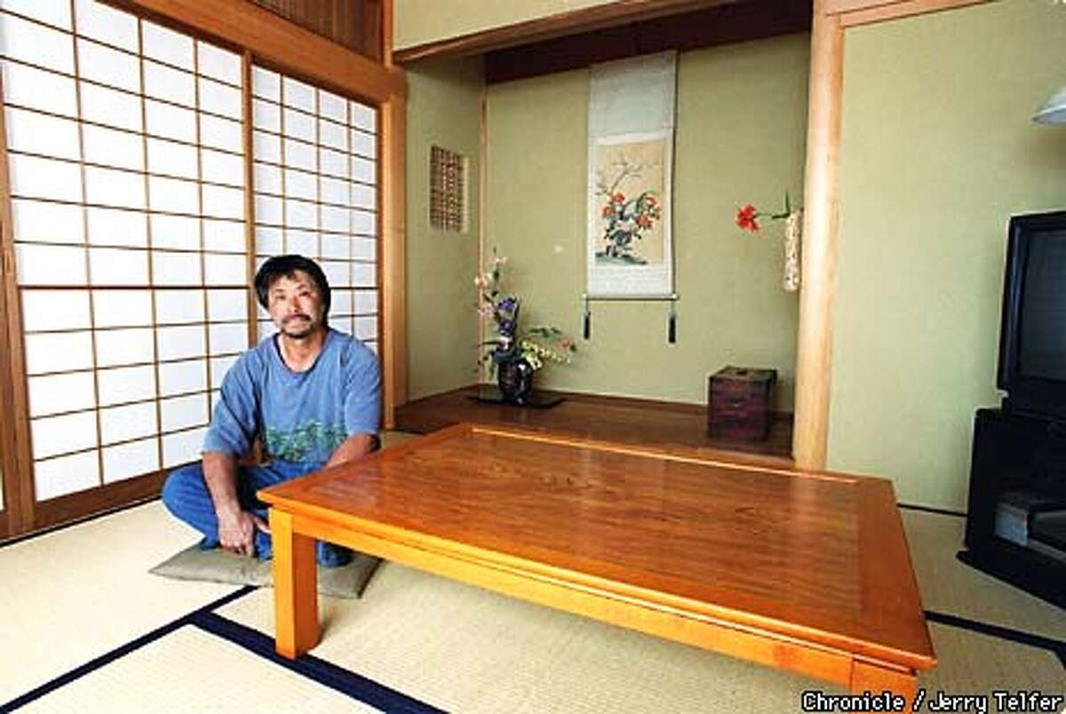 Artisan Hiroshi Sakaguchi in a finished general-purpose 8-tatami room he was commissioned to build for a San Francisco homeowner. 1127 Irving Street --CHRONICLE PHOTO BY JERRY TELFER
