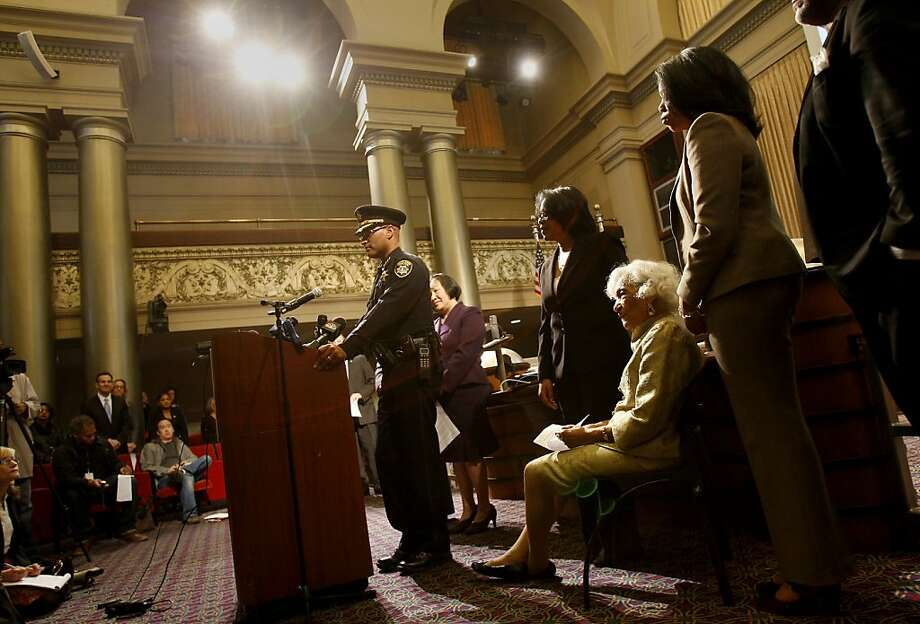 Police Chief Howard Jordan stood at the podium and said he shed a tear when he learned of his appointment as Police Chief. Oakland Mayor Jean Quan announced the appointments of Howard Jordan as Police Chief and Teresa Deloach Reed as Fire Chief at a City Hall ceremony Wednesday February 1, 2012. Photo: Brant Ward, The Chronicle