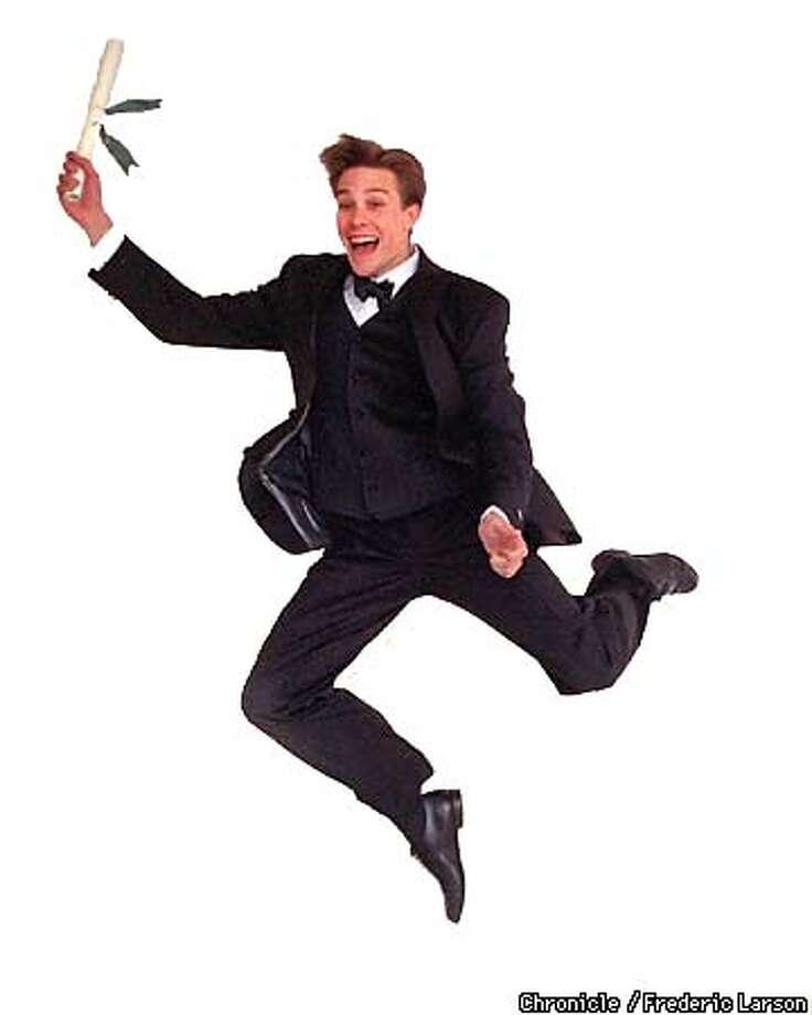 : Model jumping fir joy in a hugo boss tuxedo. Chronicle photo by Frederic Larson Photo: FREDERIC LARSON