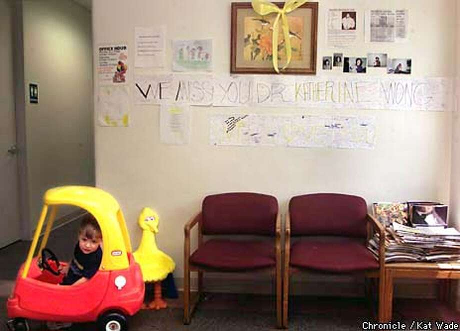 Joseph Garris, 32 months, sits in the waiting room of Doctor Katherine Wong's office where the walls are covered with notes, drawings, poems and photos for the 48-year-old pediatrition and mother of three who disappeared February 19 while skiing at Bear Valley. Members of the Garris family have gone to Dr. Wong for nearly ten years. SAN FRANCISCO CHRONICLE PHOTO BY KAT WADE Photo: KAT WADE