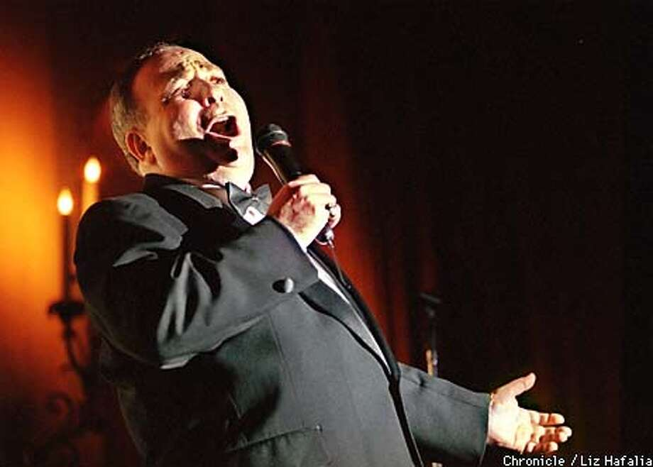 Ira Green lip-singing to Al Jolson tunes at the Marines Memorial Hotel.  BY LIZ HAFALIA/THE CHRONICLE Photo: LIZ HAFALIA