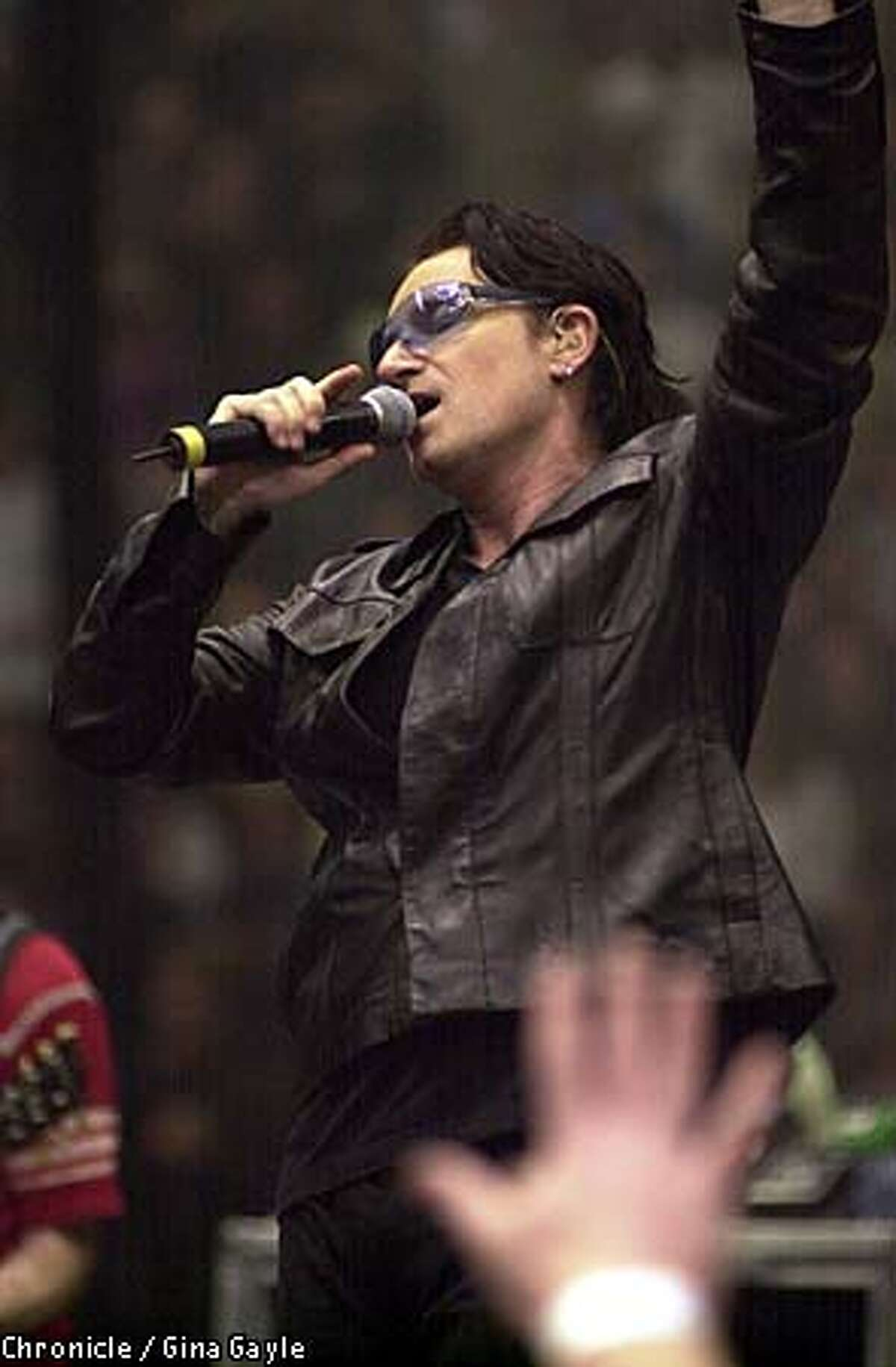 Bono of U2 performed at the Compaq Center in San Jose. Chronicle photo by Gina Gayle
