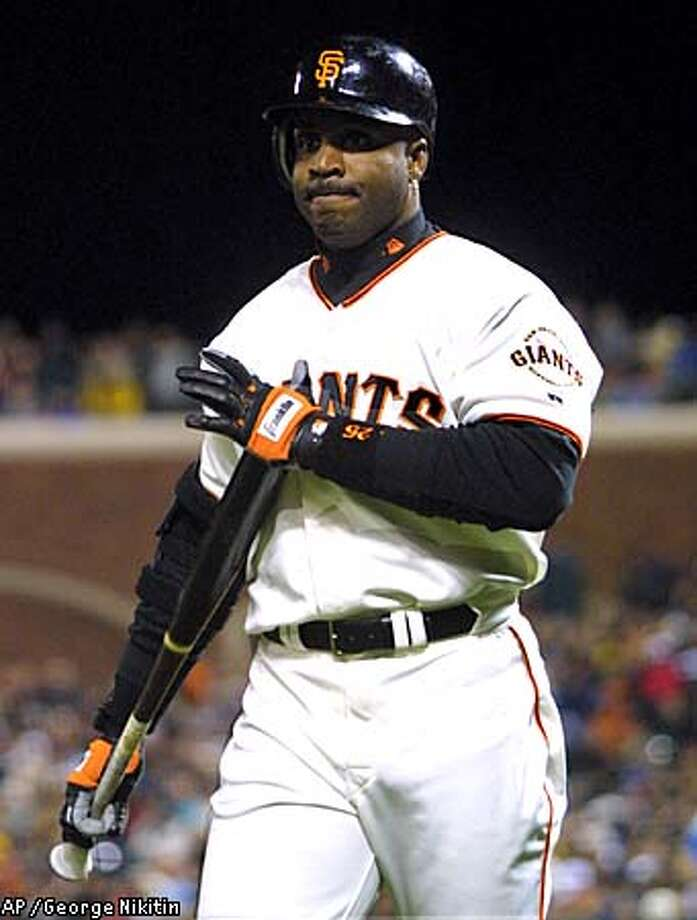 Giants left fielder Barry Bonds saw his streak of consecutive games with a home run end at six. Associated Press photo by George Nikitin