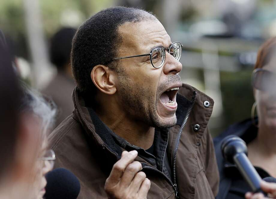 Joseph Anderson argued with members of the media about the message of Occupy Oakland and the media coverage. Members of the Occupy Oakland movement gathered on the front steps of Oakland City Hall Wednesday February 1, 2012  to denounce the police and their tactics in the latest skirmish. Photo: Brant Ward, The Chronicle