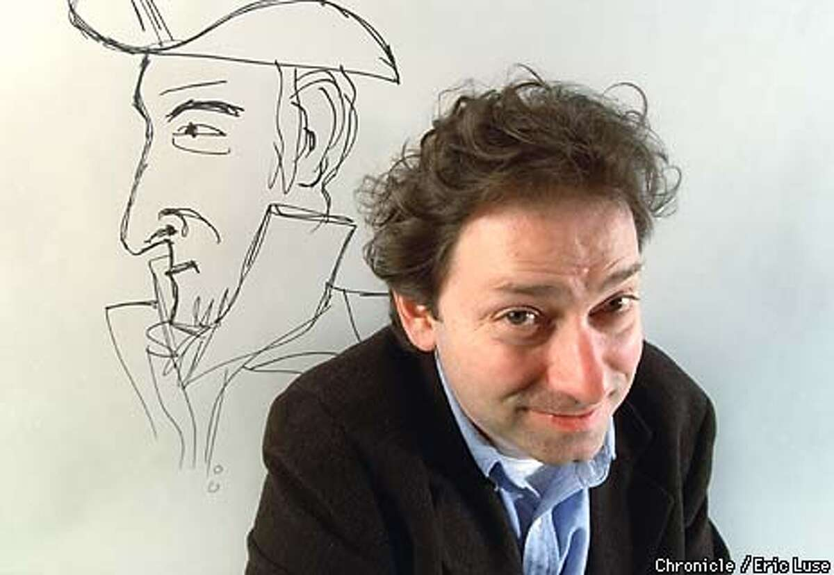Cartoonist Ben Katchor and one his character's Mr. Marah, the importer of Jewish religious articles in NewYork City, 1825. BY ERIC LUSE/THE CHRONICLE