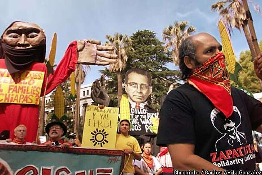 Victor Rivera of the Coalicion Zapatista of Sacramento demonstrated against the visit of Mexican President, Ernesto Zedillo outside the state capitol in Sacramento on Tuesday, May 19, 1999. (CARLOS AVILA GONZALEZ/SAN FRANCISCO CHRONICLE) Photo: CARLOS AVILA GONZALEZ