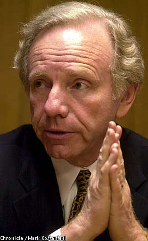 "Joseph Lieberman, in California on a fund-raising and speaking tour, said the energy crisis ""affects the whole country."" Chronicle photo by Mark Costantini"