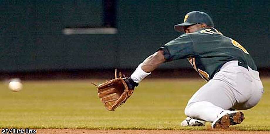 Oakland Athletics' Miguel Tejada attempts to make a stop on a ground ball hit by Anheim Angels' Troy Glaus during the bottom of the second inning on Tuesday, April 17, 2001 in Anaheim, Calif. Tejada recovered in time to make the throw to first for the out. (AP Photo/Chris Urso) Photo: CHRIS URSO