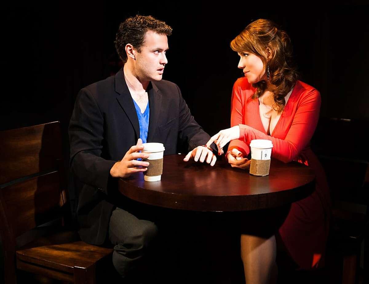 Max (Brian Robert Burns, left) tries to break it off with Becky (Lauren English) in