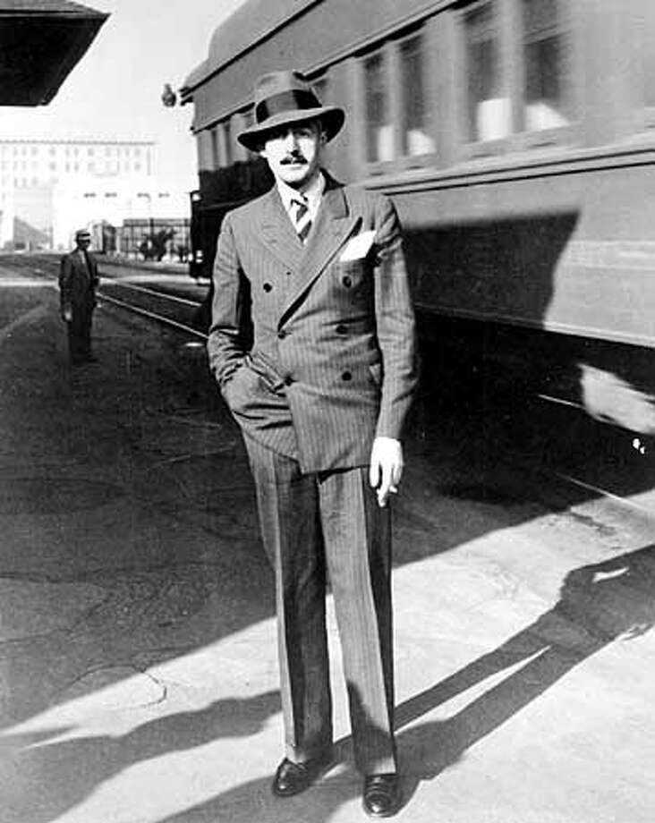 Dashiell Hammett on his arrival in Hollywood (c. 1940) to write film scripts. Photo from SHADOW MAN:The life of Dashiell Hammett, by Richard Layman, 1981. PHOTO COURTESY SPRINGER/BETTMAN FILM ARCHIVE.
