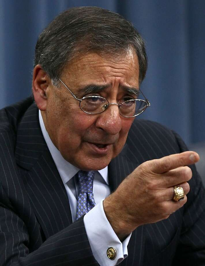 ARLINGTON, VA - JANUARY 26:  U.S. Defense Secretary Leon Panetta conducts a briefing on major budget decisions stemming from the defense strategic guidance at the Pentagon January 26, 2012 in Arlington, Virginia. During the briefing,  Panetta announced that budget cutting measures will likely limit pay increases for troops, increase the cost of health insurance fees for military retirees and possibly close military bases in the United States.  (Photo by Win McNamee/Getty Images) Photo: Win McNamee, Getty Images