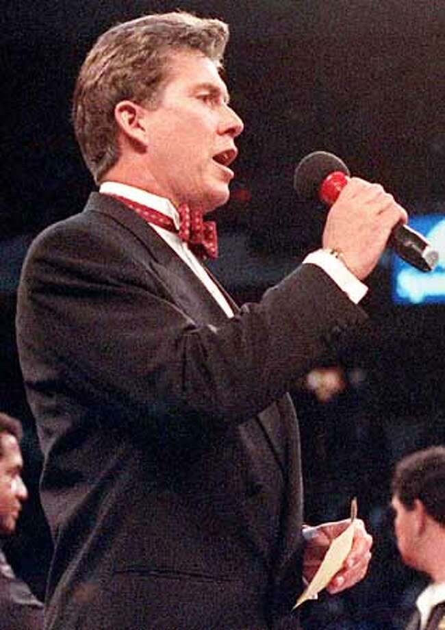 BUFFER/C/18JAN97/DD/SPCL- announcing a fight at the Thomas and Mack on 1-18-97.PHOTO BY JEFF SCHEID/LAS VEGAS-REVIEW JOURNAL ONE TIME USE ONLY. Photo: JEFF SCHEID