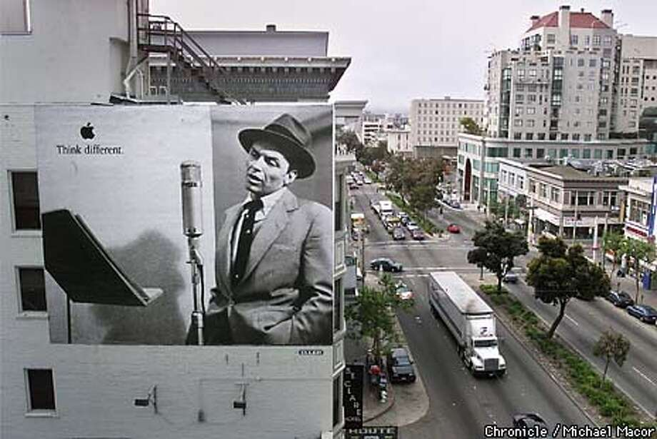 Apple Computer Advertising. One of their ads on Van Ness Av. between Sutter and Bush Sts. in SF. Singer Frank Sinatra featured in this ad. by Michael Macor/The Chronicle Photo: MICHAEL MACOR